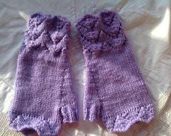 Fingerless lacy cuffed mittens , texting gloves, driving gloves ,lavender  color thick,soft , acrylic and wool yarn