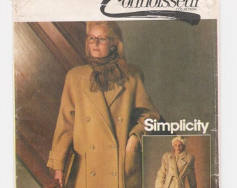 """Vintage Simplicity women's trench coat pattern #6578, """"Misses' Lined Coat"""", size 10, bust 32 1/2"""", bilingual French/English, from 1984."""