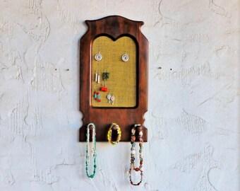"""Wall Mounted Jewelry Storage,"""" Owl"""",  Wooden Jewelry Display, Jewelry Holder, Jewelry Organizer, Necklace, Bracelet Holder"""
