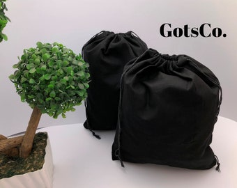 5x7 inches BLACK Cotton Muslin bags, Art Craft Bags, Reusable Bags with Double Drawstring -Choose from Quantities. (25, 50 or 100).