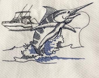 Fisherman's embroidered dual purpose kitchen towel