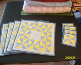 "Quilted Square ""Morning Glory""  Blue and Yellow Placemat and Coaster set 8 pc."