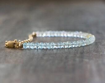 Aquamarine Bracelet, March Birthstone, Multi Aquamarine Jewelry, Dainty Stacking Bracelet, Blue Green Pink Ombre Bracelet