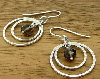 Sterling Silver 'Luna' Earrings with Smoky Quartz