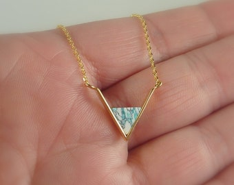 Color Collection. Gold and Mint Chevron Necklace. modern necklace. layering necklace. triangle necklace. stone necklace. gold necklace
