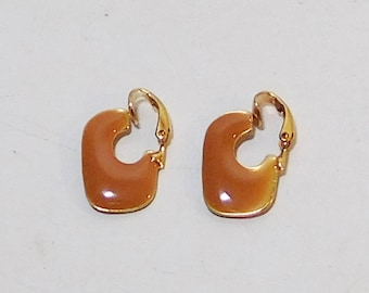 Brown Clip On Small Earrings, Painted, Enameled, Metal, Never Worn, Vintage 80s, Costume Jewelry