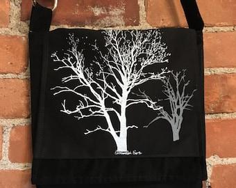 Sycamore and Walnut Tree Messenger Bag Black Corduroy 10 x 10