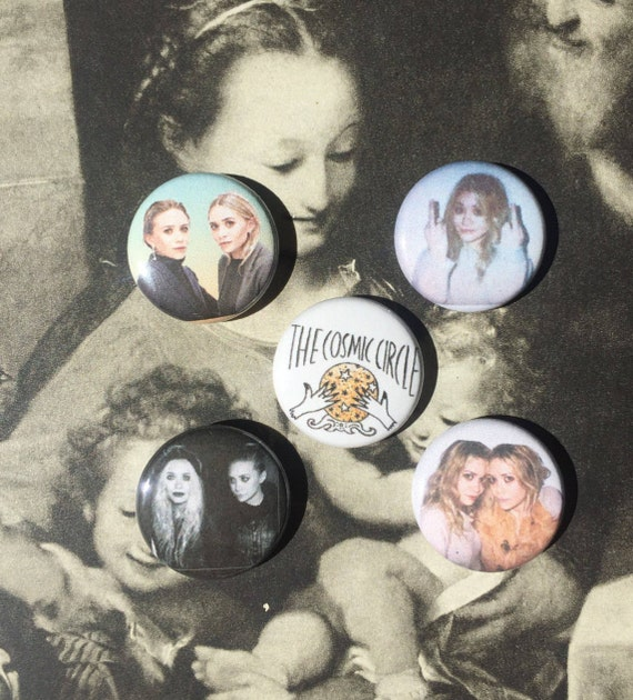 """Olsen Twins Button Pack - Mary-Kate & Ashley Buttons - Olsen Twins Pin 1"""" Button Pin Back - Olsen Badge Buttons - Celebrity Buttons 1 inch"""