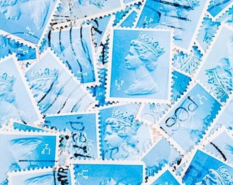 Light turquoise, used, British, 1/2p machin postage stamps all off paper for collage, stamp collecting, decoupage, scrapbooking and crafting