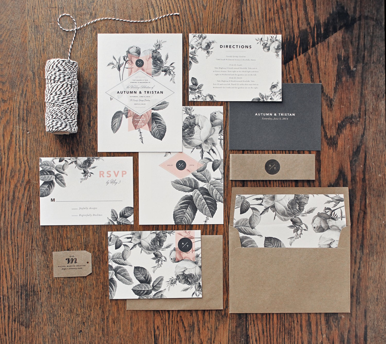 Painterly Floral Wedding Invitation & Correspondence Set /