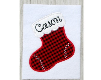 Christmas Stocking Applique, Machine Embroidery Design, 4 Sizes, Holiday Cheer, No Fonts Included