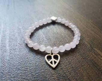 Peace Heart Beaded Bracelet, Love and Friendship bracelet, Rose quartz beads, Stretch bracelet, Charm bracelet,Light pink beads, Heart charm