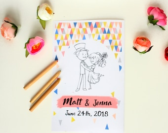 Wedding Activity Book Kids Wedding coloring pages Wedding activity book Personalized Wedding Coloring book Modern Coloring Pages