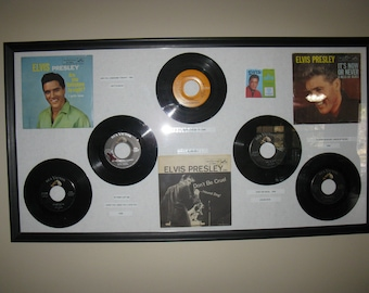 Framed Elvis Presley {5} 45 Record-Collection Lot & Record Sleeves