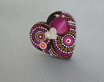 SMaddock OOAK Sterling Silver w/Wood OCD Dots Ring w/Recycling & Silver Heart