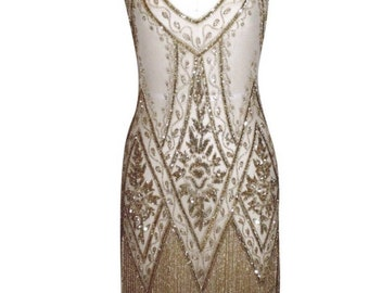 GOLD 1920's Beaded Wedding Dress, Vintage FlapperThe Great Gatsby, Downton Abbey, Vintage Bride, Boudoir, Charleston!