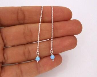 Blue opal bead threader sterling silver earrings