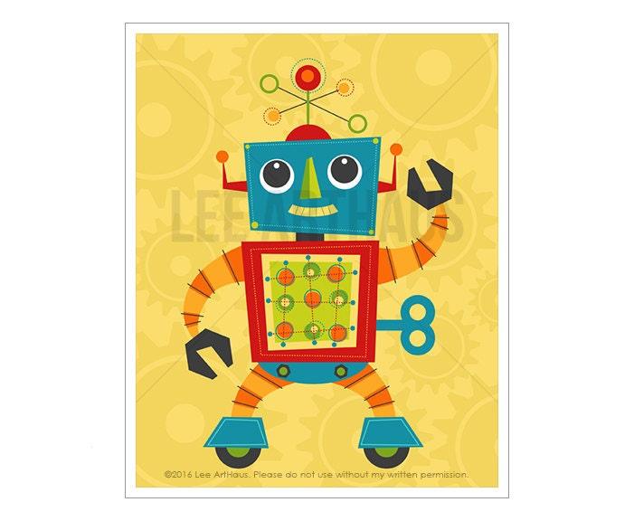 Robot Print Robot 3 Wall Art Baby Boy Room Wall Art