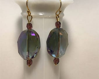 Color Changing Ovals with round purple accent beads
