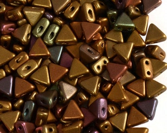 50pcs Kheops Par Puca Beads  - czech pressed 2-hole glass beads, Triangle, 6 mm, Yellow Gold Metallic Iris (KP016)
