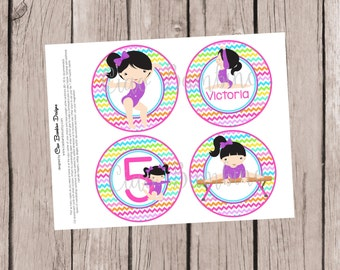 PRINTABLE Gymnastics Party Circle / Personalized Gymnastics Circle for Centerpiece, Cake Topper, Banner / Choose Hair, Skin & Leotard Color