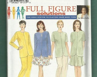 Simplicity 7239 Separates Tunic Flared Skirt and Tapered Pants Sizes 18W - 24W UNCUT