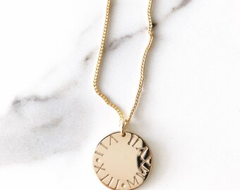 Makamae Necklace- Gold Disc Necklace, Custom Necklace,Personalized Necklace,Roman Numerals Necklace,New Mom Gift,Birthday Gift,Anniversary