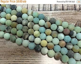 25% OFF 6mm Matte Amazonite Gemstone Beads Round Beads , Full 16 inch Strand , Ocean Blue Gemstone Beads - 60+ beads - SAMZ105