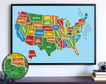 Mustache USA Travel Map Wall Art Print, Wanderlust Housewarming Poster Gift, Movember House Staging Map, Handlebar Mustache New Home Poster