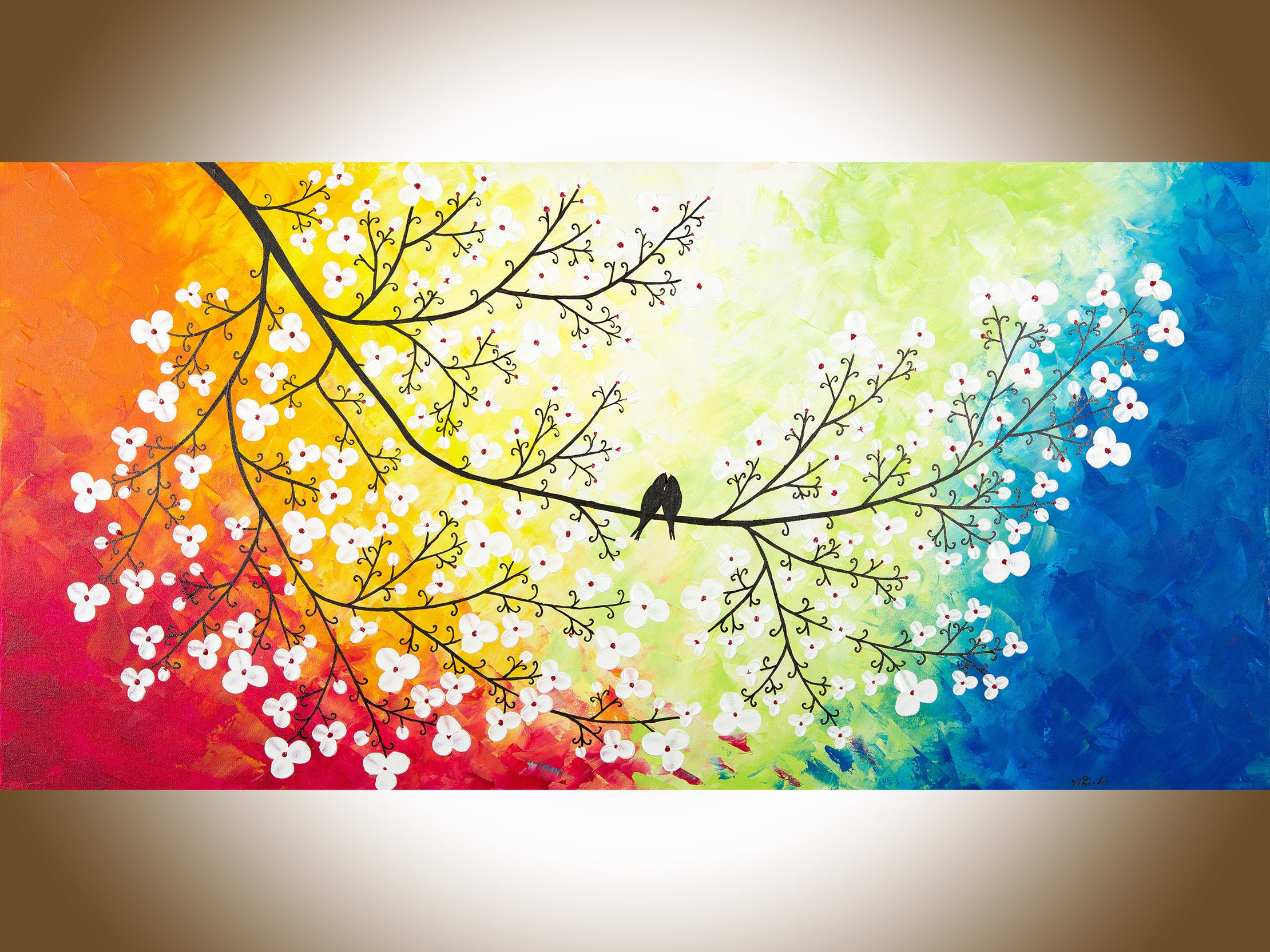 Birds art love birds painting large canvas art red yellow