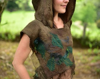 Nuno Felted Forest Cape-Fairy Leaf Poncho-Woodland Pointed Pixie Hooded Cape-Woodland Costume-Pixie Cape-Fairy Costume-Tree Costume OOAK