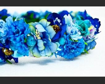 """Artificial flower  blue head crown """"Zariah"""""""