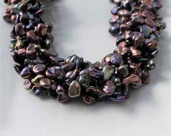 Peacock Keshi Pearls, Purple Keshi Pearls, Petal Pearls, Top Drilled Kesh, Purple Pearls Cornflake Pearl Plum Pearl 8-11mm Full Strand KP314