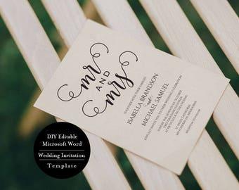 Wedding Invitations Caligraphy Invites, Wedding Invitation Suite Template, Printable Wedding Invitation Set, MSW147