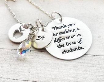 Teacher Gift - Personalized Teacher Gift, Gift For Teacher, Retirement Gift, Teacher Retirement Gift, Teacher Necklace, Apple, Retirement,