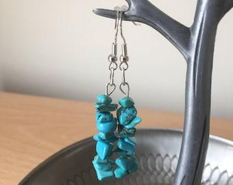 Turquoise Chip Drop Earrings, Turquoise Earrings, Turquoise Dangling Earrings