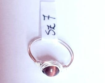 RED TIGER'S EYE handmade wire rings