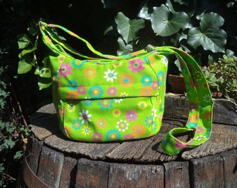 Floral canvas zippered shoulder bag-small