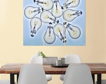 Light Bulbs 10 Foci Triptych Metal Wall Art