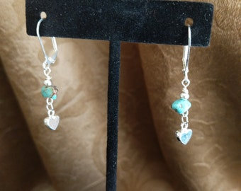 Petite turquoise and heart earrings