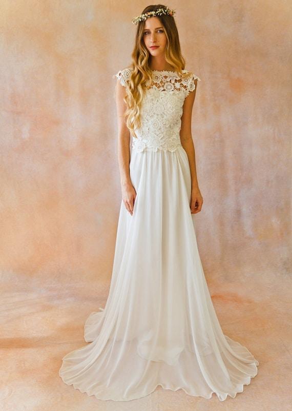 Amy 2-Piece Lace Silk Chiffon Bohemian Wedding Dress. OPEN