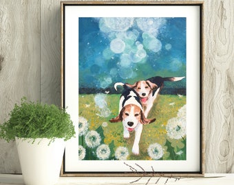 BFF Beagles, Digital download-only image, Printable art, Dog print, Handmade, All the proceeds will be donated to rescue organizations