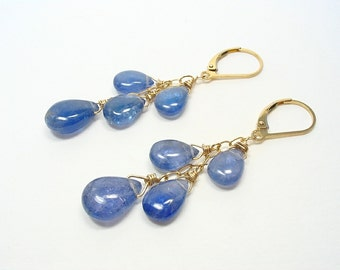 Tanzanite Leverback Earrings, Cascade Earrings, Gold Tanzanite Jewelry, Violet Blue Earrings, Gemstone Jewelry, December Birthstone