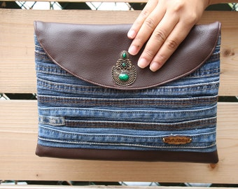 Recycled Denim & Recycled Faux Leather Clutch. One of a Kind Clutch. Boho Chic Purse. Casual Clutch. Evening Clutch. Patchwork Bag.