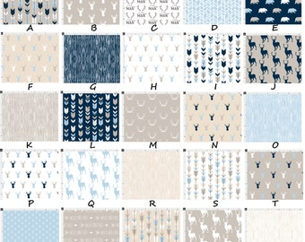 Rustic MOD Woodland Arrows Deer Bear Antlers Little Man Navy & Baby Blue Tan and Cream Baby Nursery Crib Bedding Set CHOOSE and CUSTOMIZE
