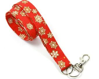 SPARK Fabric lanyard, Holiday Badge Holder, Flurries Lanyard, Holiday Gift, Flurries Badge Holder, Red Lanyard