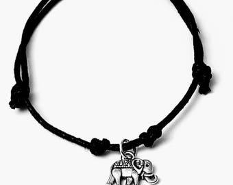 Handmade Elephant  Charm Bracelet Or Necklace On A Fully Adjustable Waxed Cord Many Charm Choices Available