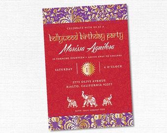 Bollywood Invitation, Printable Bollywood Invite, Middle Eastern Invitation, Elephant Indian Party, Indian Party Invitation, Moroccan Party