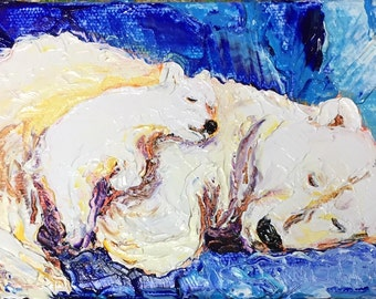Polar Bear and Cub 6x4 Inch Original Impasto Oil Painting by Paris Wyatt Llanso