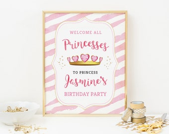 Princess crown welcome sign, Personalised Princess party sign, Printable princess sign, Princess party decor Princess crown decor Pink Girls